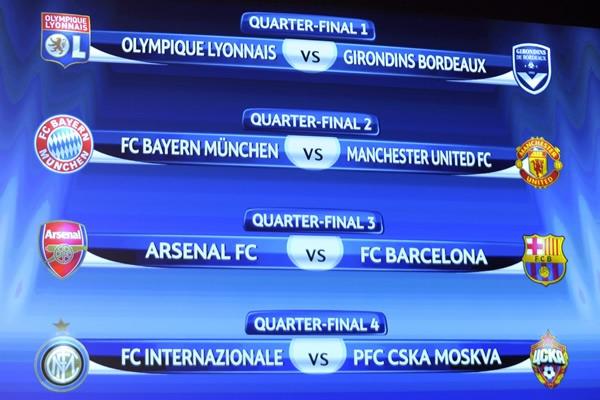 Hace pocos  días se realizo el sorteo de los Cuartos de Final de la Champions League  2010 en donde quedaron ya definidas las llaves de los Cuartos de Final  de la Champions League.