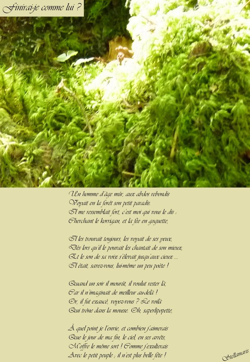 Finirai-je comme lui ? / / Un homme d'âge mûr, aux abdos rebondis / Voyait en la forêt son petit paradis. / Il me ressemblait fort, c'est moi qui vous le dis : / Cherchant le korrigan, et la fée en goguette, / / Il les trouvait toujours, les voyait de ses yeux, / Dès lors qu'il le pouvait les chantait de son mieux, / Et le son de sa voix s'élevait jusqu'aux cieux … / Il était, savez-vous, lui-même un peu poète ! / / Quand un soir il mourût, il voulut rester là, / Car il n'imaginait de meilleur au-delà ! / Or, il fut exaucé, voyez-vous ? Le voilà / Qui trône dans la mousse. Oh, saperlipopette, / / À quel point je l'envie, et combien j'aimerais / Que le jour de ma fin, le ciel, en ses arrêts, / M'offre le même sort ! Comme j'exulterais / Avec le petit peuple ; il n'est plus belle fête ! / / Stellamaris