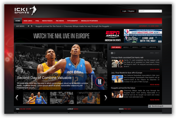 ICKI Sports May 09 Joomla Template