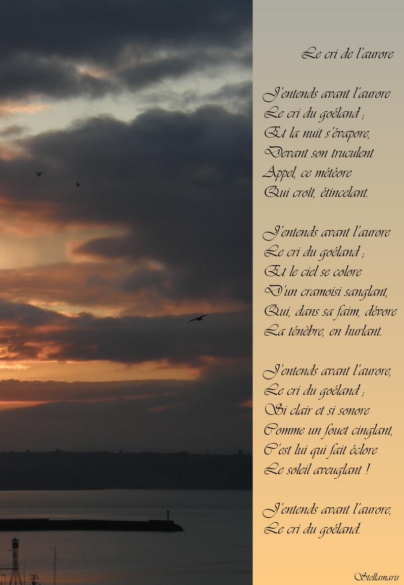 Le cri de l'aurore / / J'entends avant l'aurore / Le cri du goéland ; / Et la nuit s'évapore, / Devant son truculent / Appel, ce météore / Qui croît, étincelant. / / J'entends avant l'aurore / Le cri du goéland ; / Et le ciel se colore / D'un cramoisi sanglant, / Qui, dans sa faim, dévore / La ténèbre, en hurlant. / / J'entends avant l'aurore, / Le cri du goéland ; / Si clair et si sonore / Comme un fouet cinglant, / C'est lui qui fait éclore / Le soleil aveuglant ! / / J'entends avant l'aurore, / Le cri du goéland. / / Stellamaris